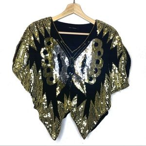 QED London Black Gold sequin butterfly Top